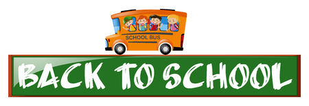 schoolbus: Back to school theme with children on school bus illustration Illustration