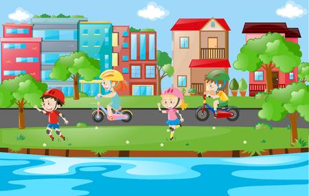 skate park: Happy children skating along river illustration Illustration