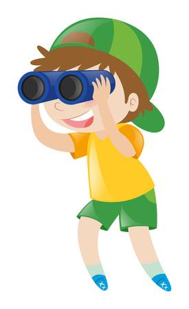 双眼鏡の図を通して見る少年