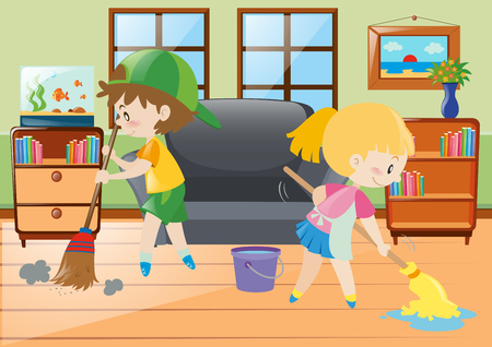 sweeping: Two kids mopping and sweeping floor illustration