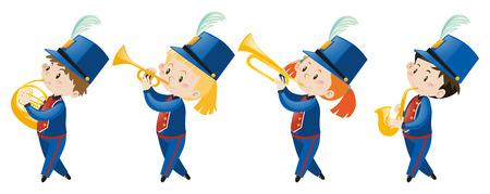 school band: Kids in school band wearing blue uniform illustration