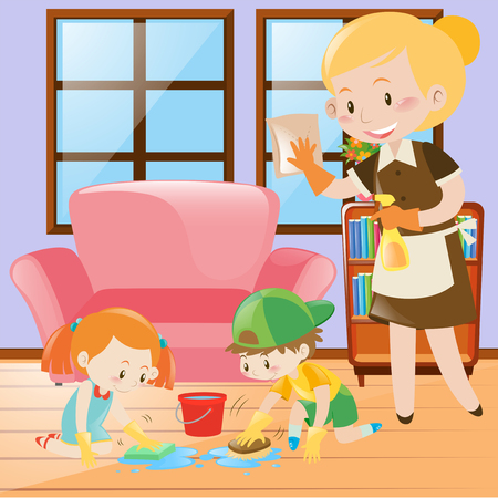 maid cleaning: Kids and maid cleaning the house illustration