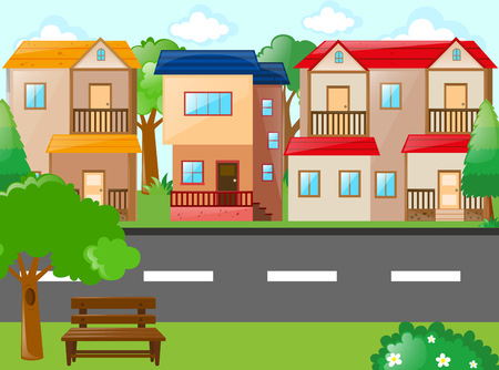Scene with houses and road illustration