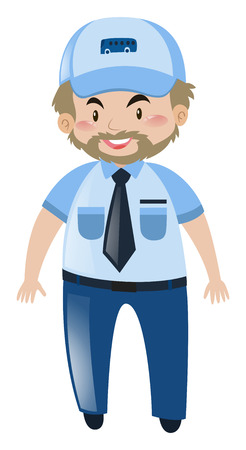 happy driver: Bus driver with happy face illustration