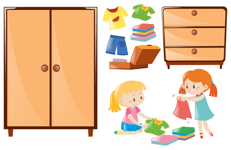 closets: Set of girls folding clothes and closets illustration