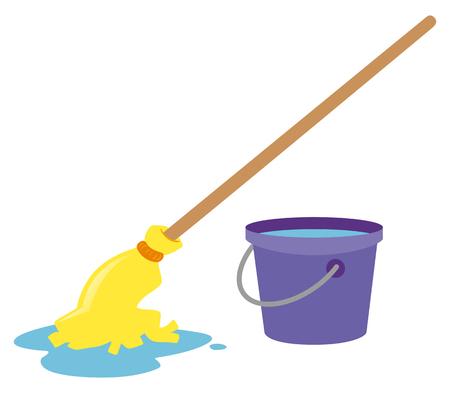 Mop and water bucket illustration 일러스트