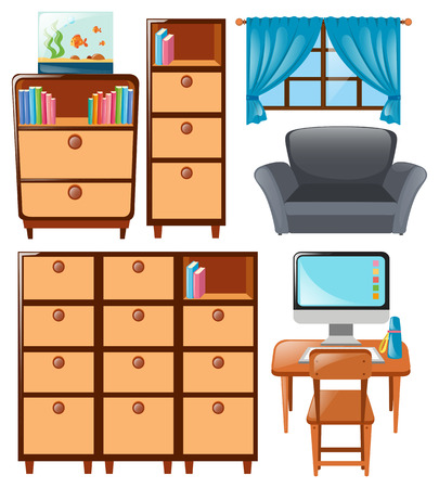 cabinets: Set of cabinets and other furnitures illustration