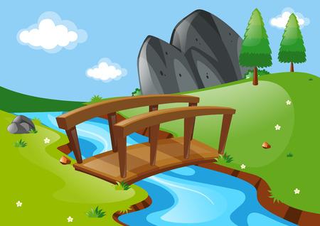 river rock: Scene with bridge over river illustration