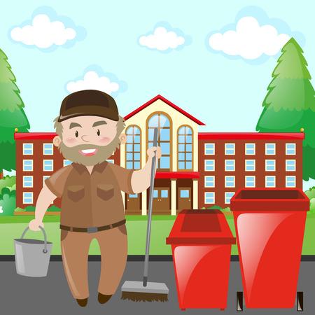 茶色の制服イラストの学校用務員