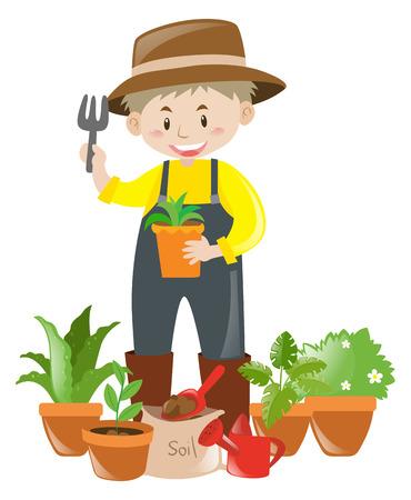 flower pots: Gardener with lots of flower pots illustration Illustration