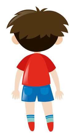 red shirt: Back of boy in red shirt illustration