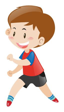 red shirt: Little boy in red shirt running illustration