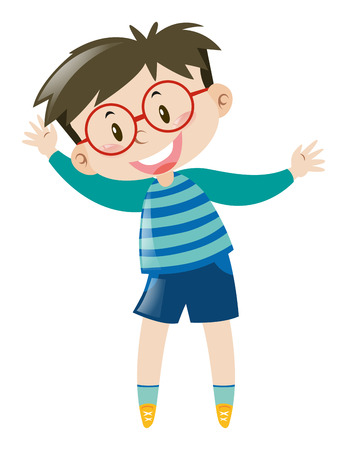 blue shirt: Boy with glasses wearing blue shirt illustration