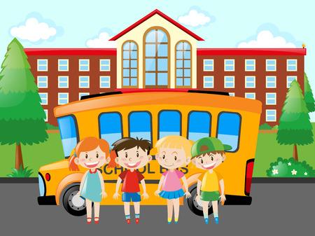 pupils: Four pupils standing at school illustration