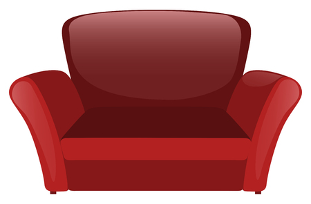 white sofa: Red sofa on white background illustration