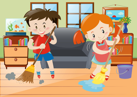 Boy and girl doing chores in the house illustration