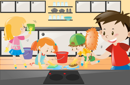 kitchen cleaning: Boys and girls cleaning the kitchen illustration Illustration