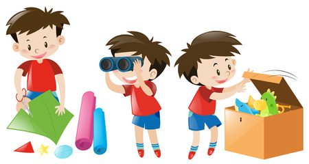 red shirt: Boy in red shirt doing different things illustration