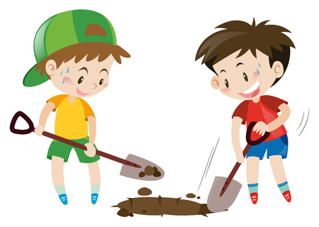 Two boys digging hole with shovels illustration Stock Illustratie