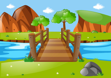 river rock: Scene with wooden bridge in park illustration