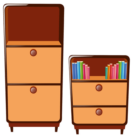 cabinets: Two cabinets with drawers illustration Illustration