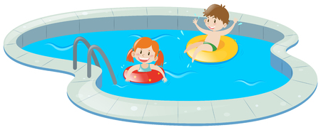 Two kids in swimming pool illustration