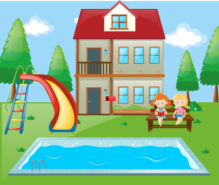 swimming pool home: Girls sitting by the pool side at home illustration Illustration