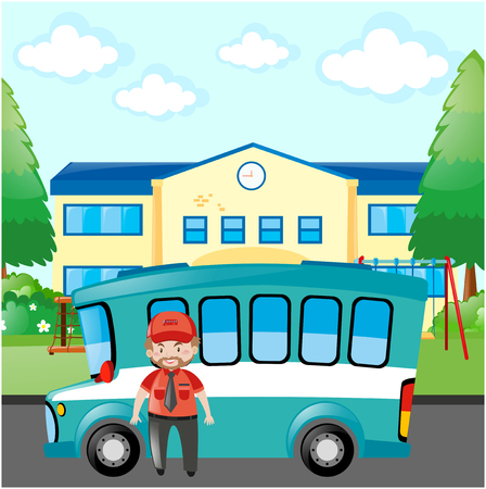 bus conductor: Bus driver standing by blue bus illustration