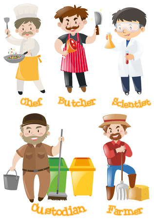 Different types of occupations illustration