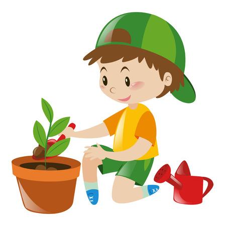 planting tree: Boy planting tree in clay pot illustration