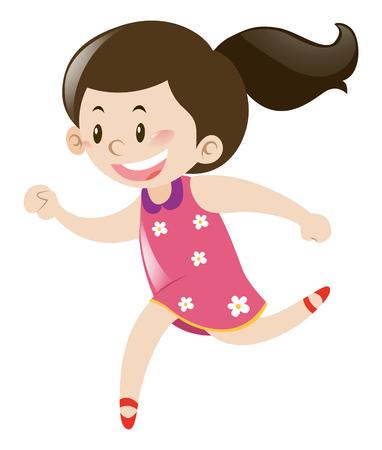 pink dress: Little girl in pink dress running illustration Illustration