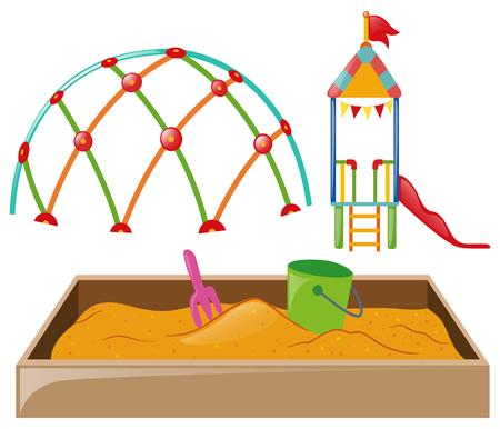 Playstation with slide and sandpit illustration