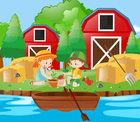 planting tree: Kids planting tree in the farm illustration