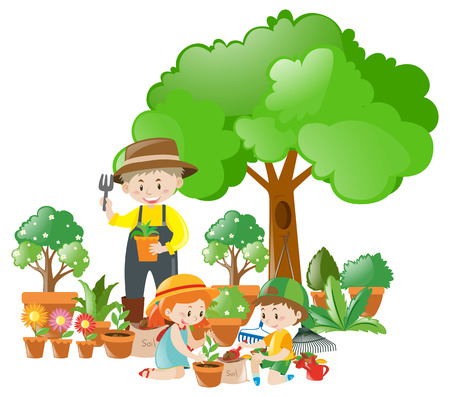 Man and kids planting trees illustration