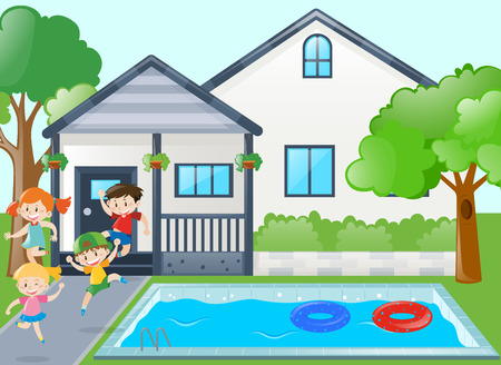 swimming pool home: Kids playing by the pool side illustration
