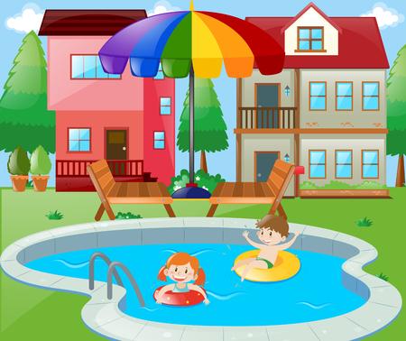 swimming pool home: Two kids swimming in backyard illustration