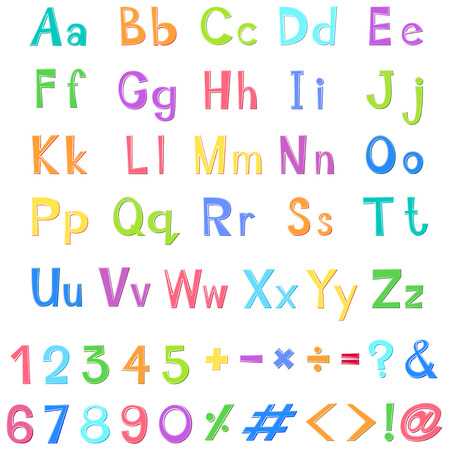 English alphabets and numbers in many colors illustration