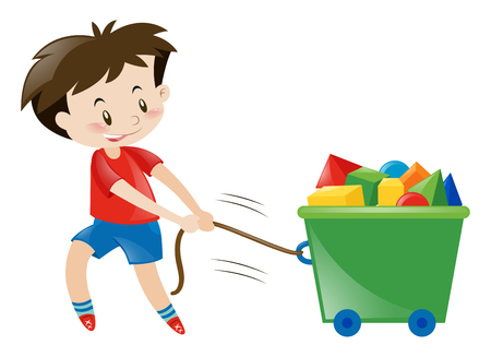 red shirt: Boy in red shirt pulling toys illustration