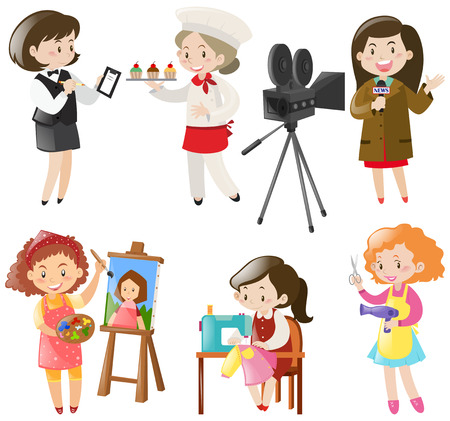 jobs: Women doing different kinds of jobs illustration