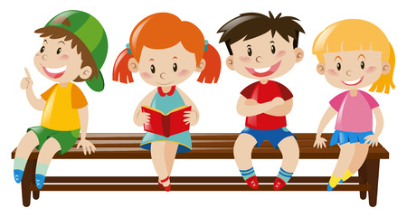 Four kids sitting on wooden bench illustration