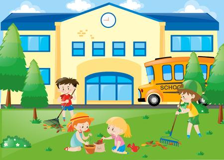 raking: Students planting trees and raking leaves illustration