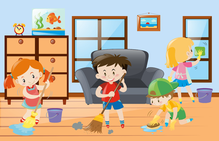 doing chores: Kids doing chores at home illustration