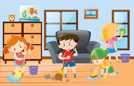Kids doing chores at home illustration
