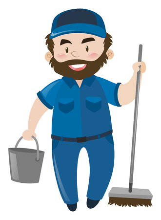 janitor: Male janitor in blue uniform illustration