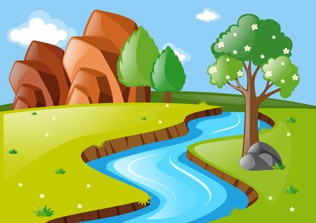 river rock: Scene with stream running through field illustration