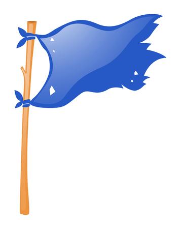 wooden stick: Blue flag on wooden stick illustration