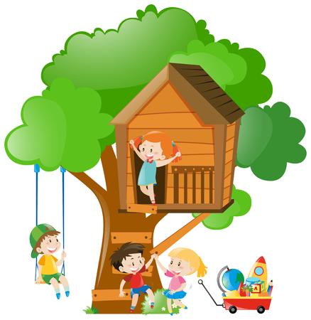 男の子と女の子の樹上の家イラスト