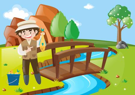 man fishing: Man fishing in river illustration