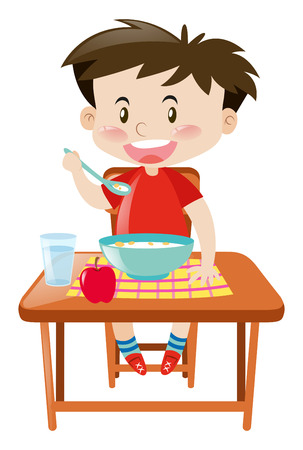 Boy eating from bowl on the table illustration