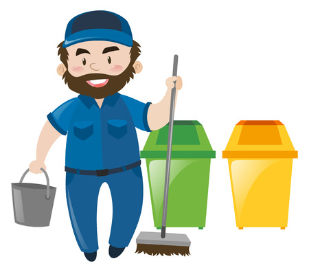 janitor: Male janitor with broom and bucket illustration